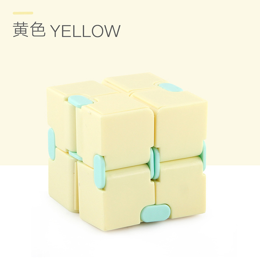 Plastic 4cm Stress  Reliever Pocket  Cube Infinite Magic Cube Gift Relaxation Toy yellow