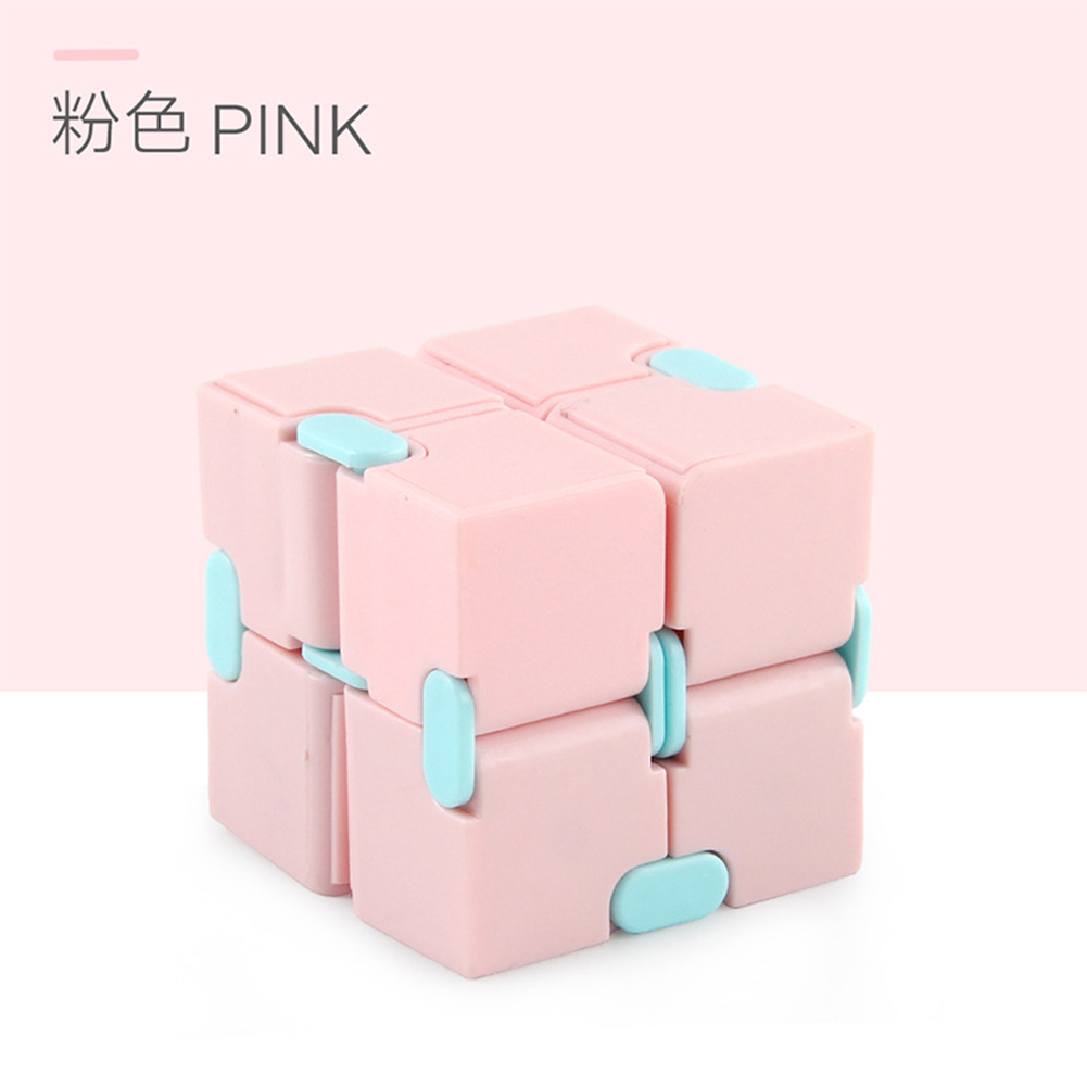 Plastic 4cm Stress  Reliever Pocket  Cube Infinite Magic Cube Gift Relaxation Toy Pink