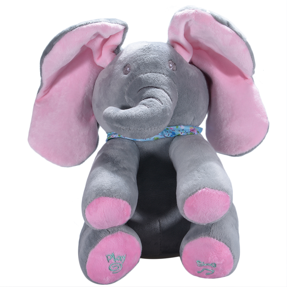 [EU Direct] Plush Elephant Doll Toy, Play Music, Hide Eyes, Funny, Educational Toy, Lots of Cute Kinds for Choice