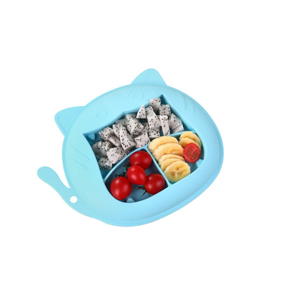 Children Dinner Plate Silicone Portable Divided Dinner Plate With Suction Cup Blue-tiger