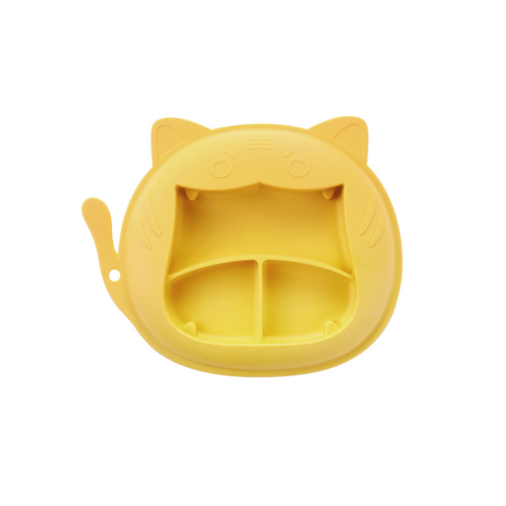 Children Dinner Plate Silicone Portable Divided Dinner Plate With Suction Cup Yellow-tiger