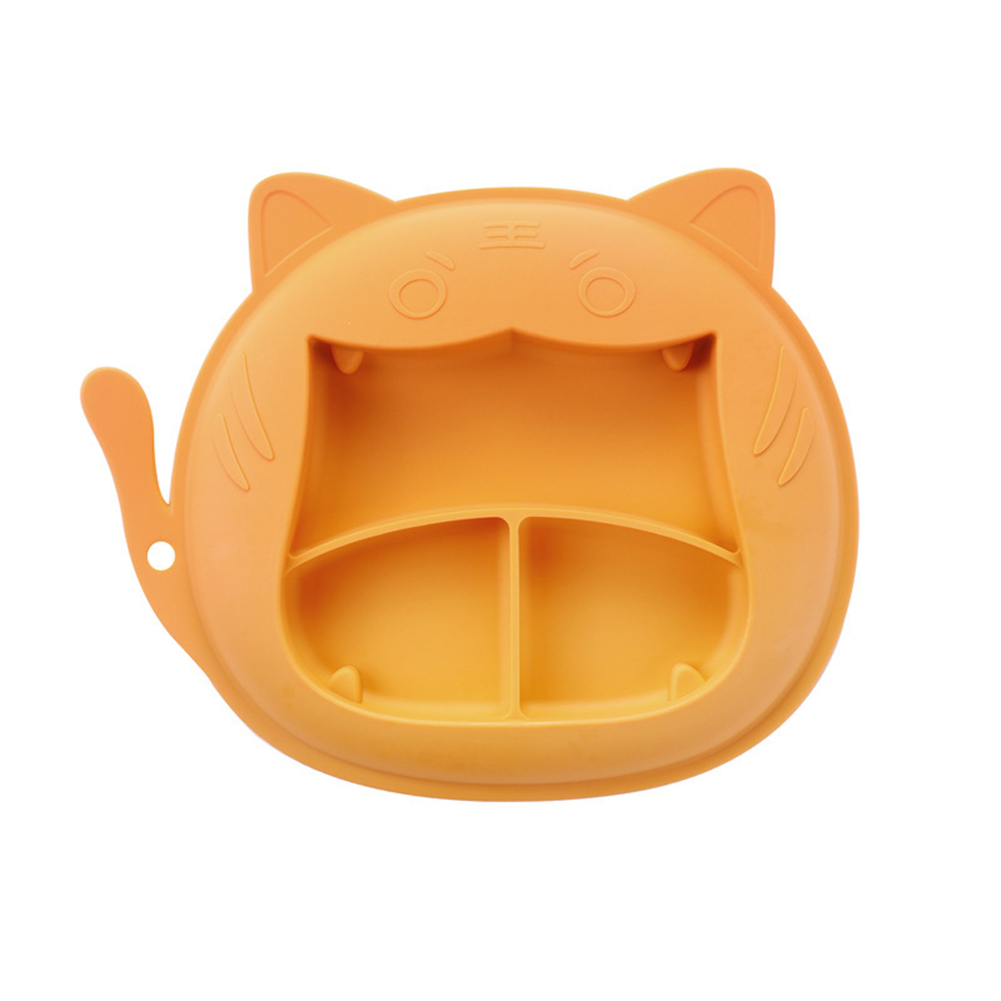 Children Dinner Plate Silicone Portable Divided Dinner Plate With Suction Cup Orange-Tiger