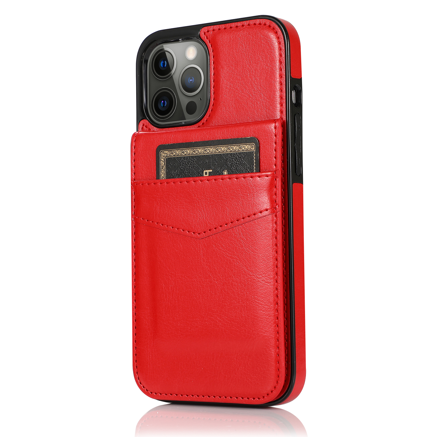 Mobile Phone Case Solid Color Plug-in Card Protective Case Cover For Iphone12 red_iphone 12promax 6.7