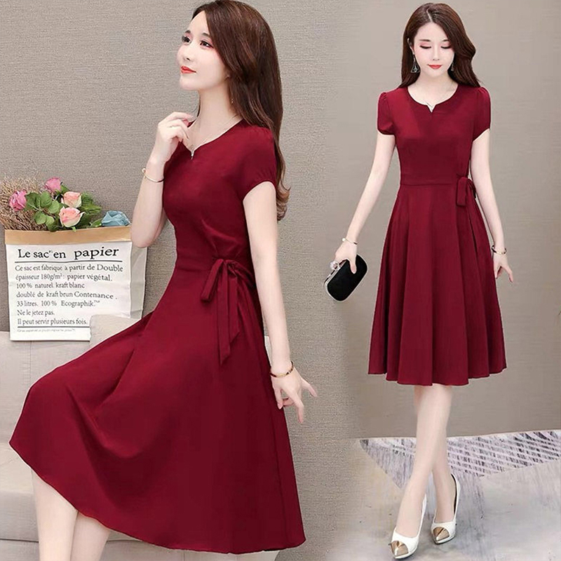 Woman Summer Loose Pure Color Short Sleeves Mid-length Dress Female Fashion Dress Wine red_M
