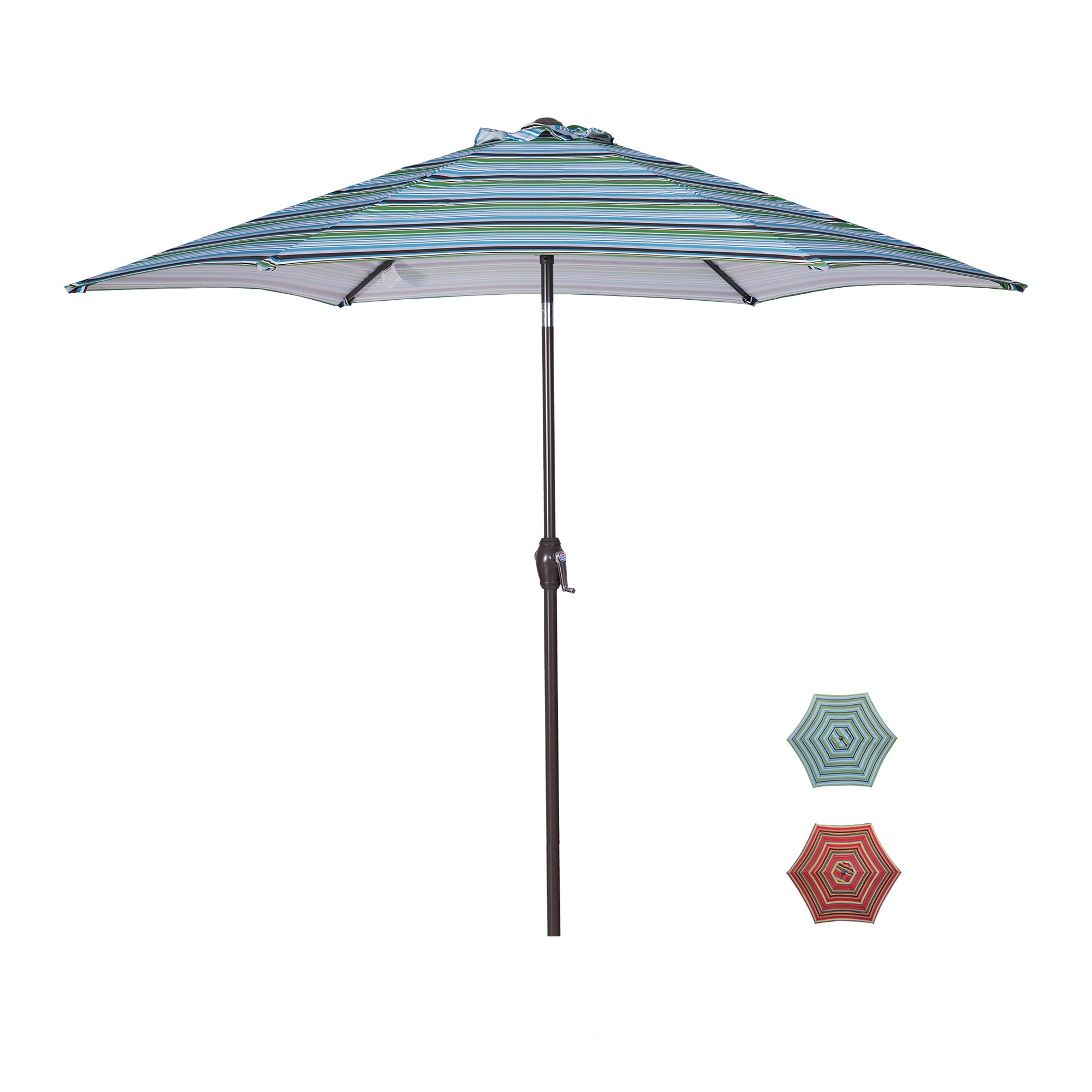 [US Direct] Outdoor Patio 8.6-Feet Market Table Umbrella with Push Button Tilt and Crank, Red Stripes[Umbrella Base is not Included]