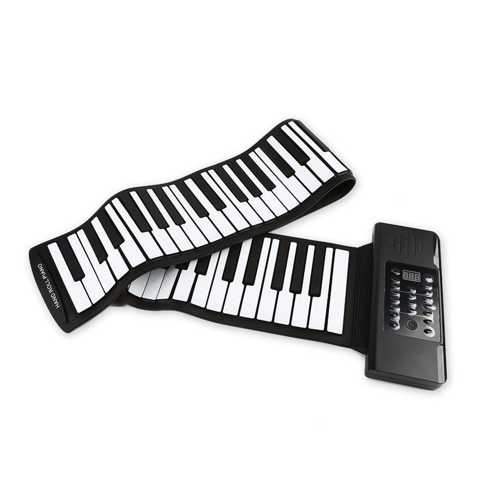 61 Keys 88 Keys Roll Up Piano Flexible Soft Electronic Digital Piano Roll Up Keyboard Piano Portable Piano for Beginner 88 Keys Black