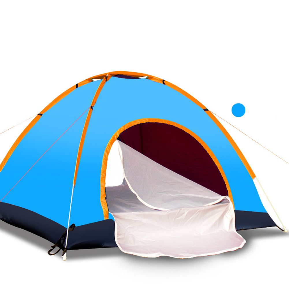 Outdoor Tent Waterproof Automatic Quick-opening Camping Double Layer Tent for Outdoor Travel Hiking Lake blue_3-4 people