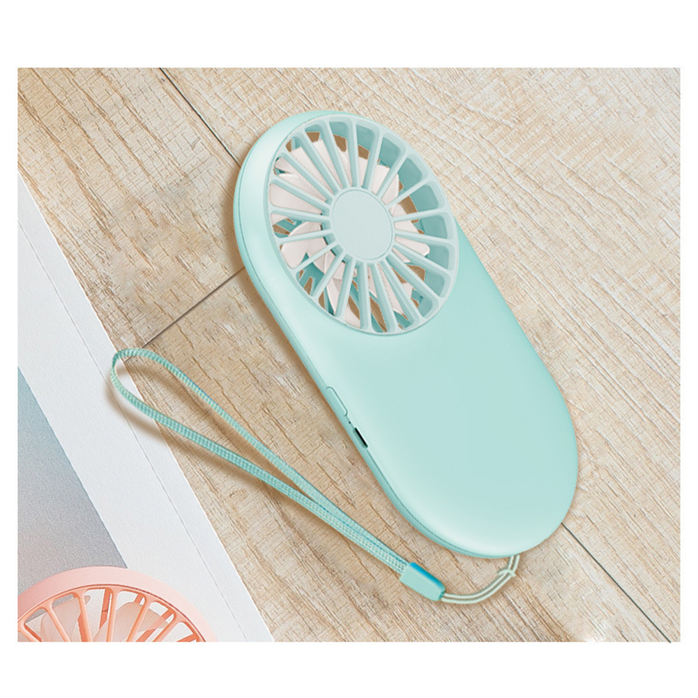 Portable USB Charging Pocket Mini Fan with Hanging Rope for Outdoor Home Use Light blue_6.5cm