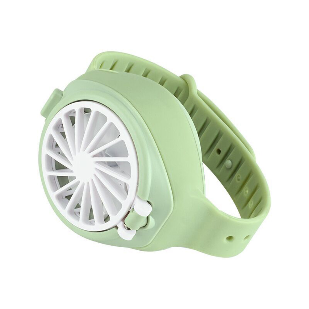 Mini 3 Modes Speed Fan Portable USB Charging Watch Fan for Student Kids green_As shown