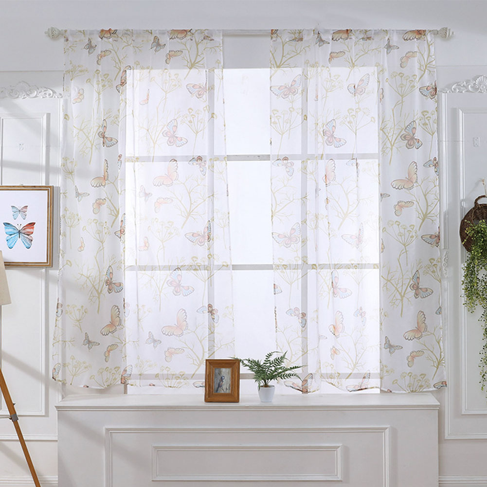 Butterfly Print Sheer Window Curtains Room Decor for Living Room Bedroom Kitchen W 100cm * H 130cm