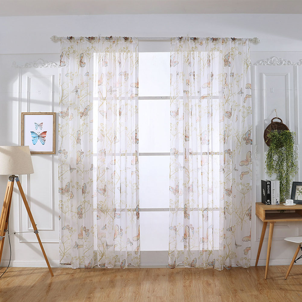 Butterfly Print Sheer Window Curtains Room Decor for Living Room Bedroom Kitchen W 200cm * H 270cm