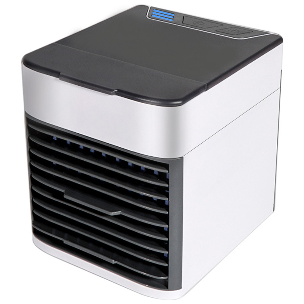 Household Mini Air Conditioner USB Personal Space Cooler Portable Air Cooler LCD Digital Display Desktop Fan Black and white