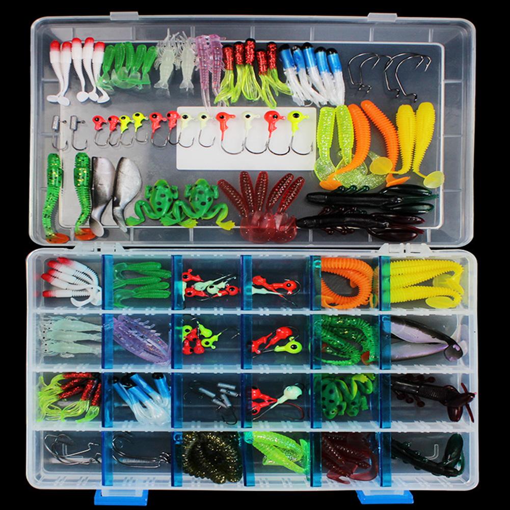 146 Pcs Soft Lure Set Sea Fishing Tackle Fishing Lure Silicone Bait Soft Worm Shrimp Carp Fishing Accessories 146 pcs/set