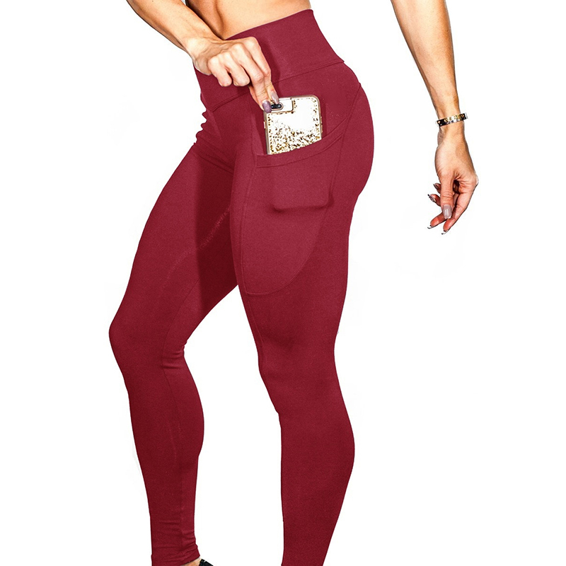 Women Yoga Pants Gym Leggings with Phone Pockets Slim Fit Sports Ninth Pants red_XL