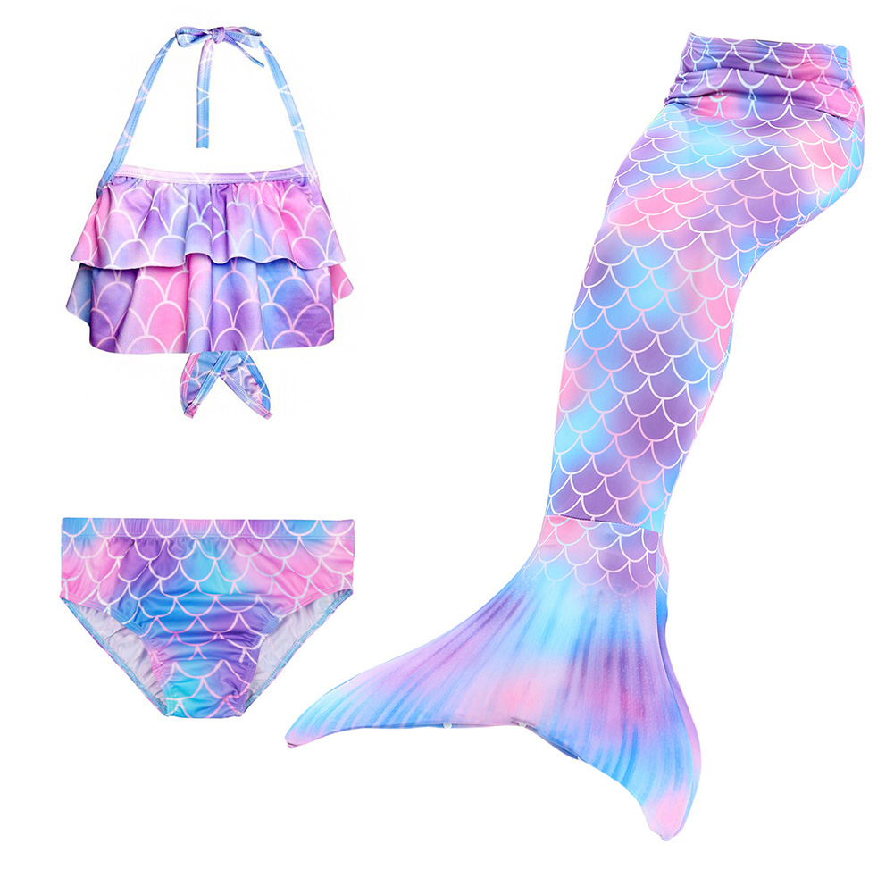 3Pcs/set Girl Kid Swimwear Mermaid Tail Sling Crop Tops Panties Gradient Color Swimsuit for 3-12 Years Purple_120