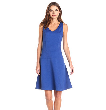 [US Direct] Missky Sleeveless V-neck Flare Swing Casual A-line Dress Blue_S