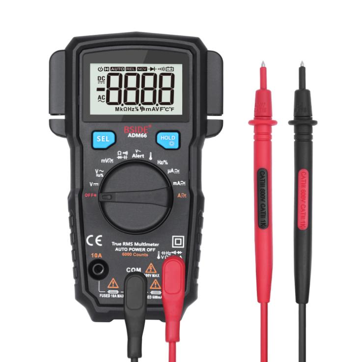 ADM66 Automatic Range Digital Multimeter Trms Mini 6000 Dmm Dual Slot Capacitor Ohm Hz Temperature Ncv Diode Tester black