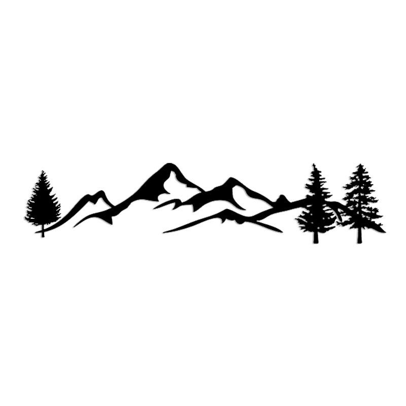 Car Rear Windshield Body Decal Fashion Mountain Forest Totem Reflective Car Styling Sticker black