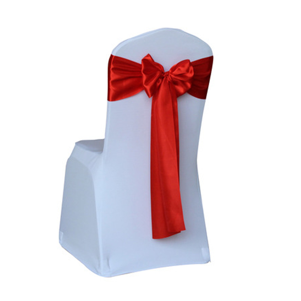 Satin Wedding Chair Cover 10pcs Red