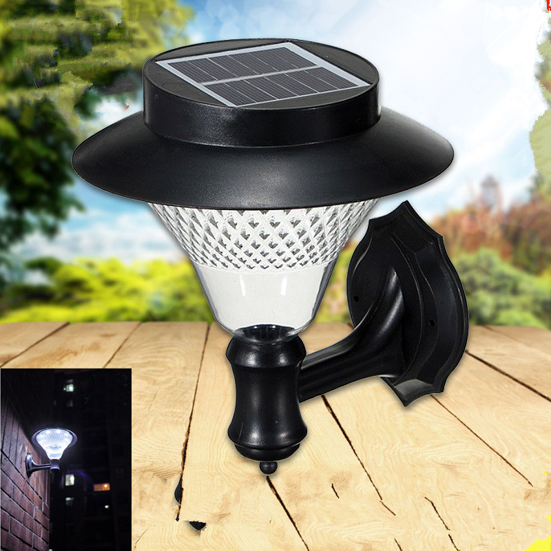 16LED Outdoor Solar-Powered Wall Lamp Yard Fence Stair Street Light Decoration White light
