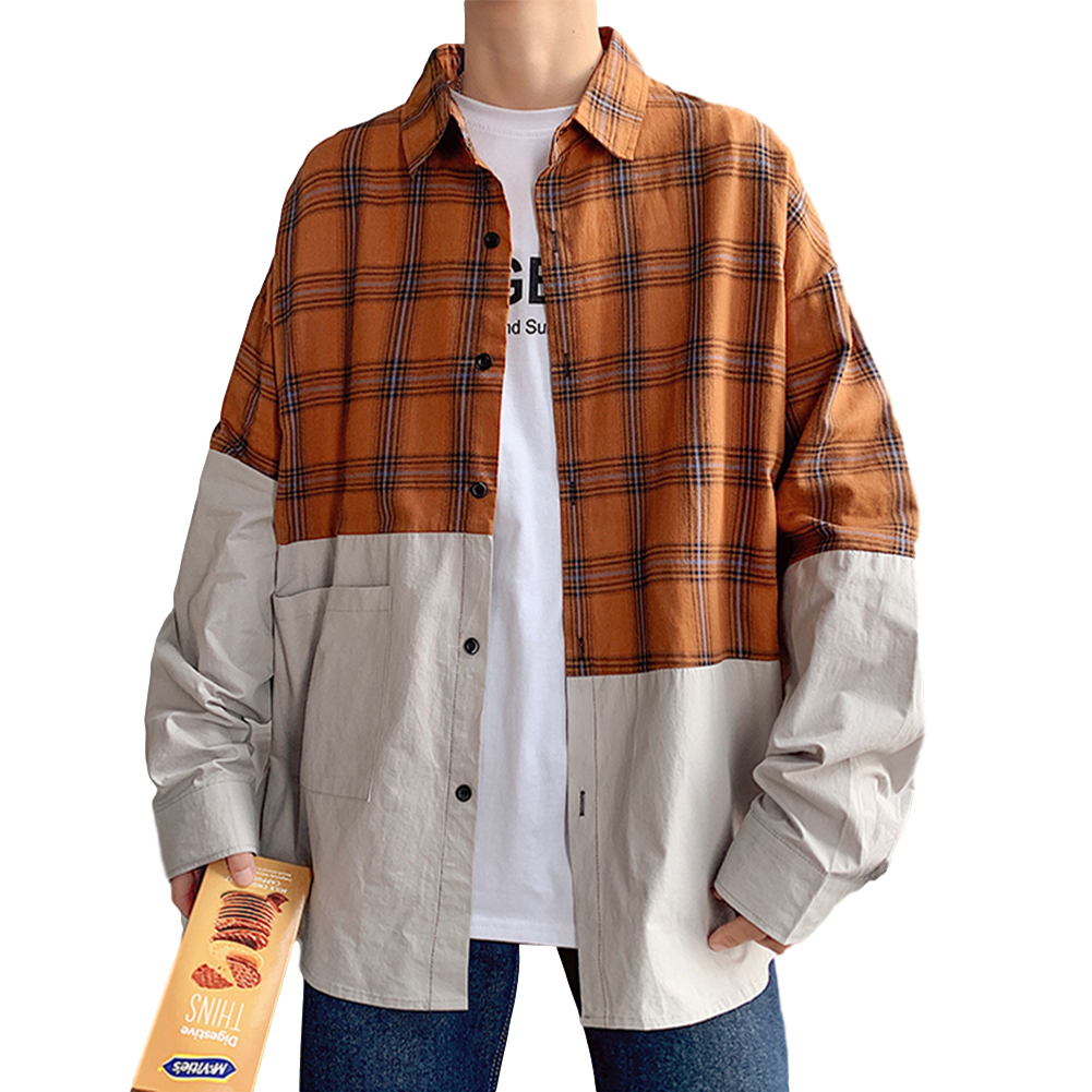Men's Leisure Shirt Plaid Stitching Plus Size  Loose Casual Long-sleeved Shirt Brown _XL