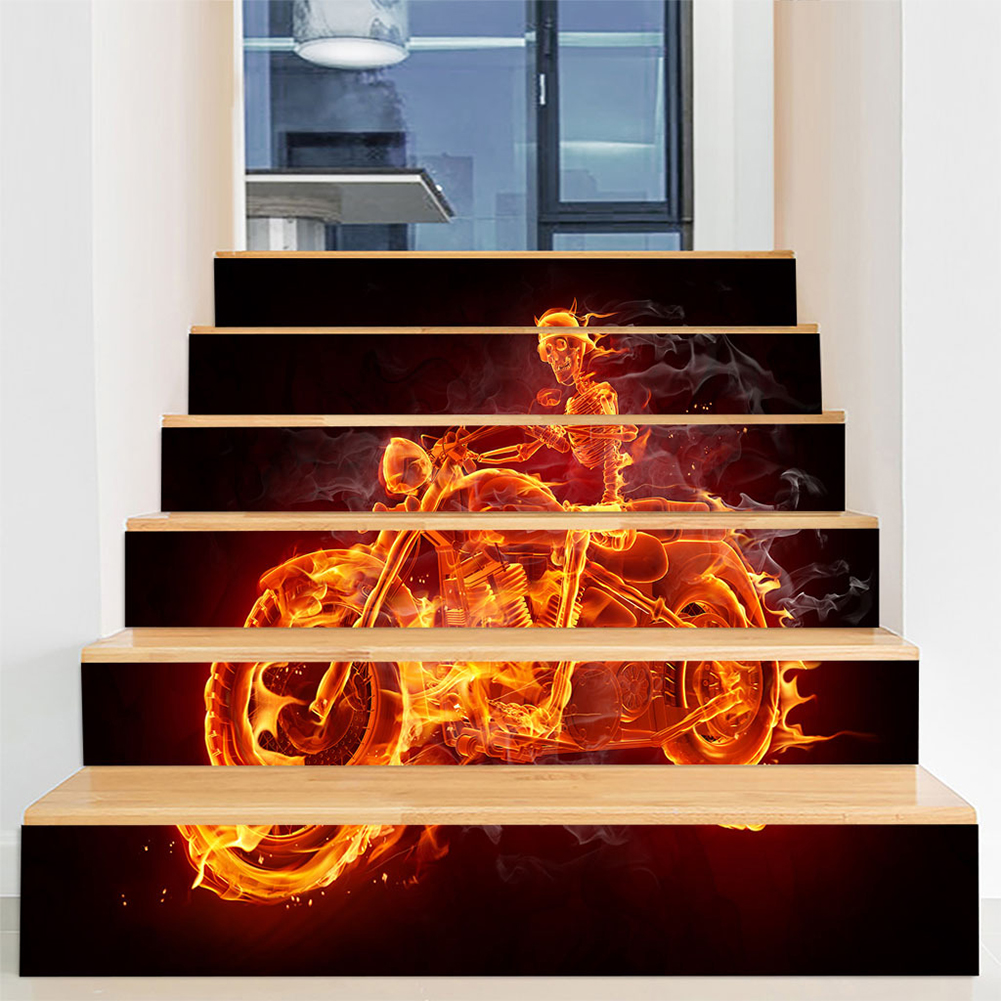 6Pcs/Set DIY Horror Removable Waterproof Stickers Decoration for Halloween Wall Stairs