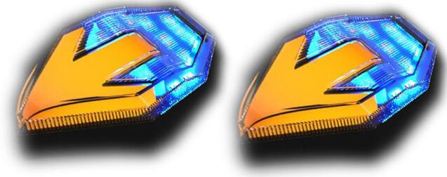 1 Pair Motorcycle LED Turn Signal Light 12V Arrow Shape Double Color Side Blinker Flasher yellow + blue