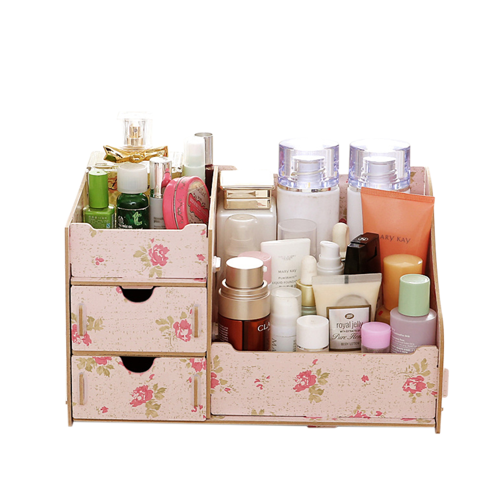 Wooden Makeup Cosmetic Organizer Desktop Storage Box Rack 27.5*17 *13.5cm Camellia
