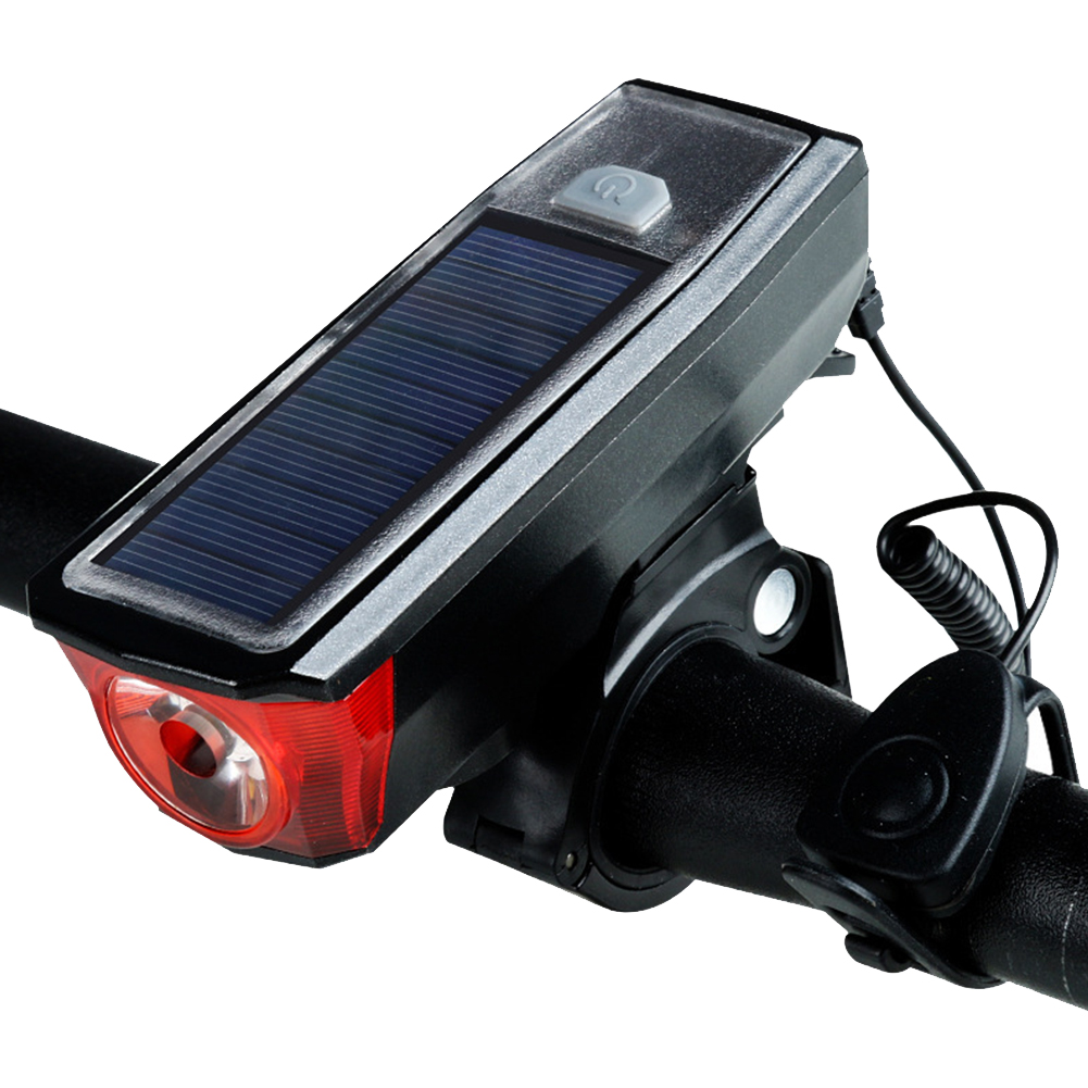Bike Bicycle Headlight Solar USB Charging Light 120dB Horn 350 Lumen black