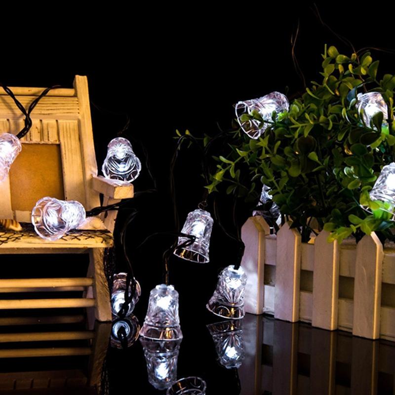 24.6ft 7.5m 40 LED Solar Light String Bell Solar Fairy String Lights, Warm White