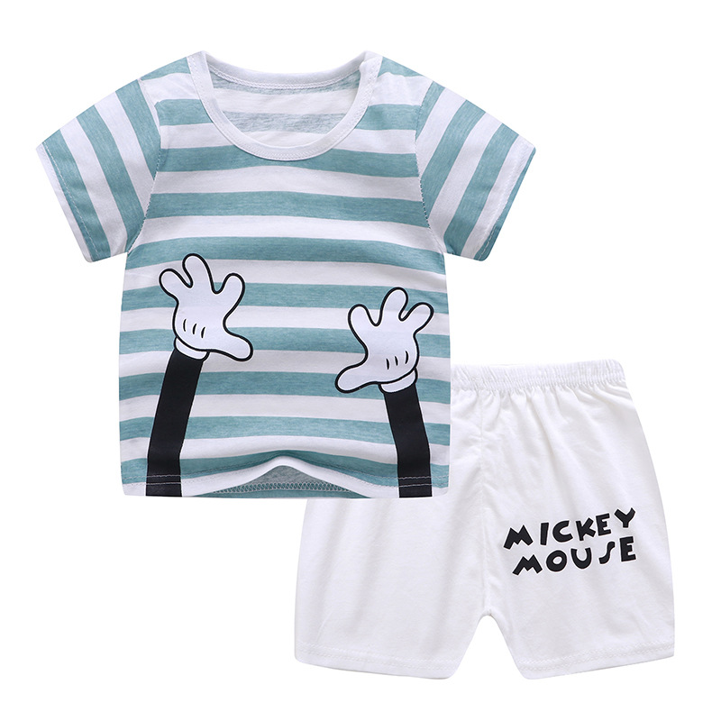 2Pcs/set Baby Suit Cotton T-shirt + Shorts Cartoon Short Sleeve for 6 Months-4 Years Kids Striped hand_100 (65 yards)