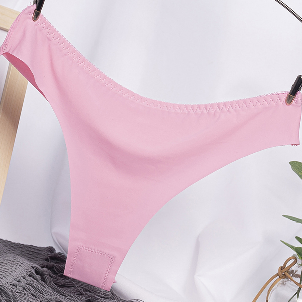 Women G-string Cotton Crotch Seamless Solid Color Low Waist Sexy Underwear Erotic Briefs Panties Rose Red_One size