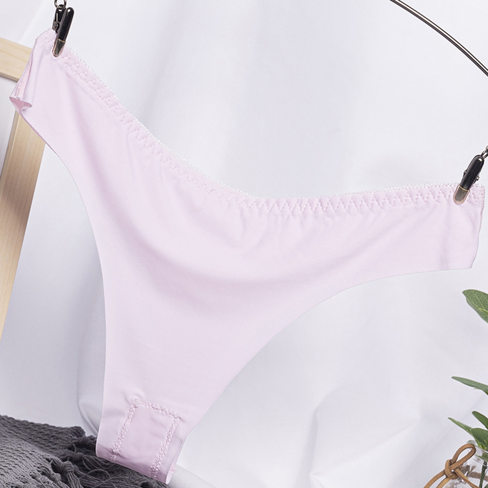 Women G-string Cotton Crotch Seamless Solid Color Low Waist Sexy Underwear Erotic Briefs Panties Pink_One size