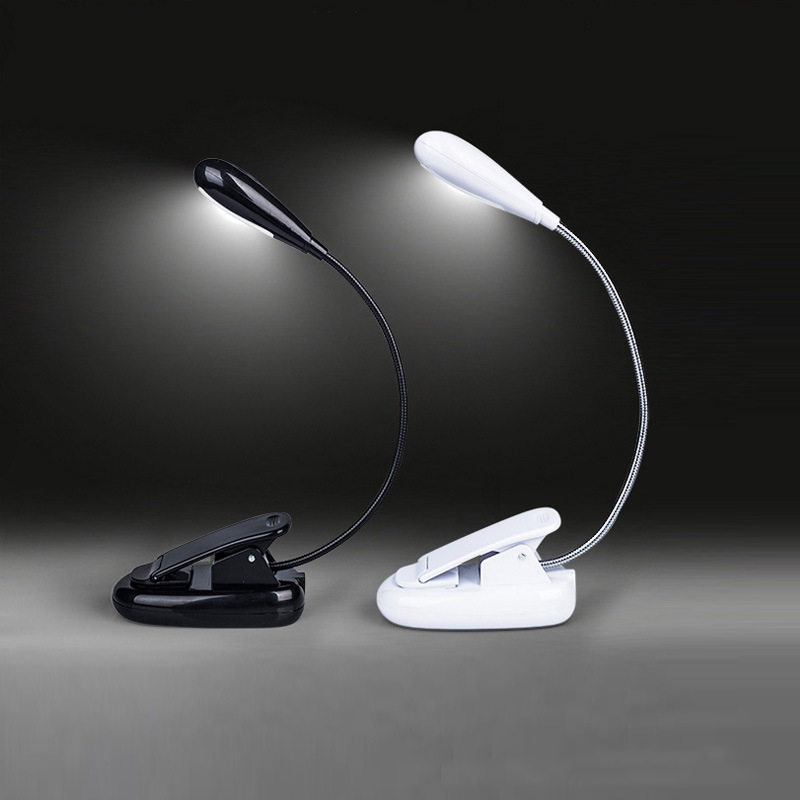 4 LED Reading Lamp Rechargeable and Flexible Gooseneck Nightlight Desktop Clip Light with Stand Music Stand Light Black