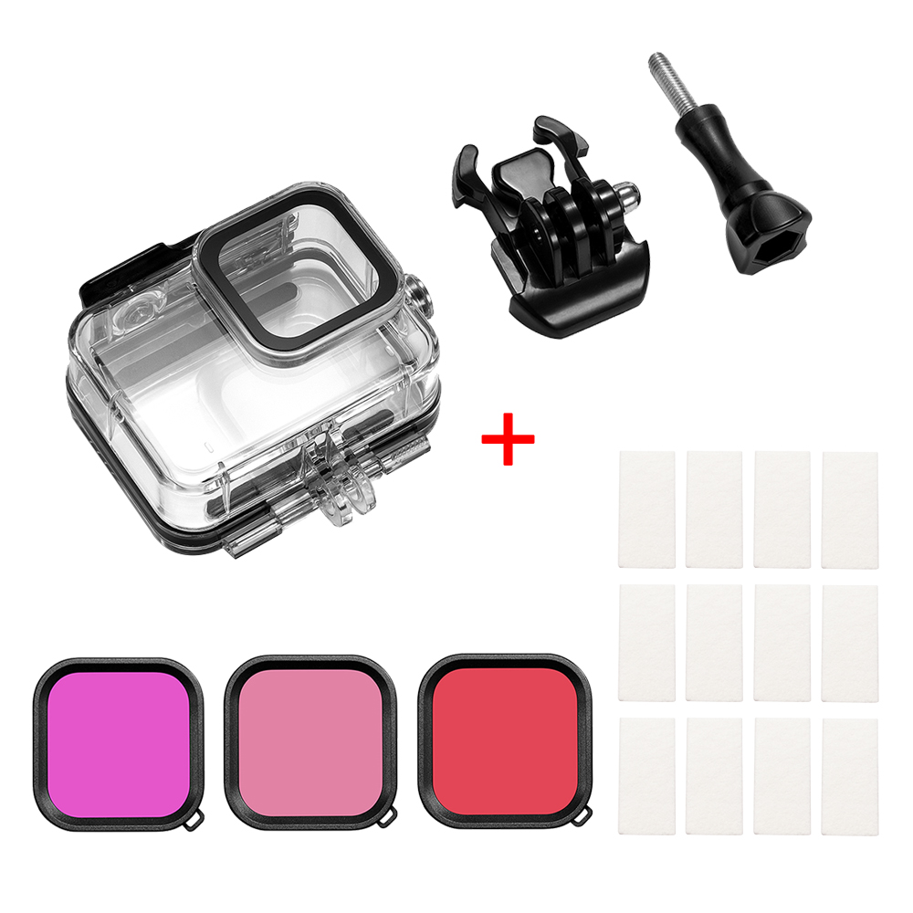 For Gopro Hero 8 Camero Screen Device Waterproof Shell Anti-fog Film 3-color Filter Anti-scratch Anti-shock Overall Protection  Waterproof shell + anti-fog film + 3-color filter