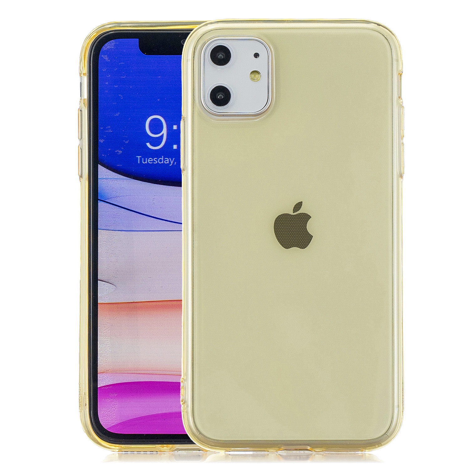 for iPhone 11 / 11 Pro / 11 Pro Max Clear Colorful TPU Back Cover Cellphone Case Shell Yellow