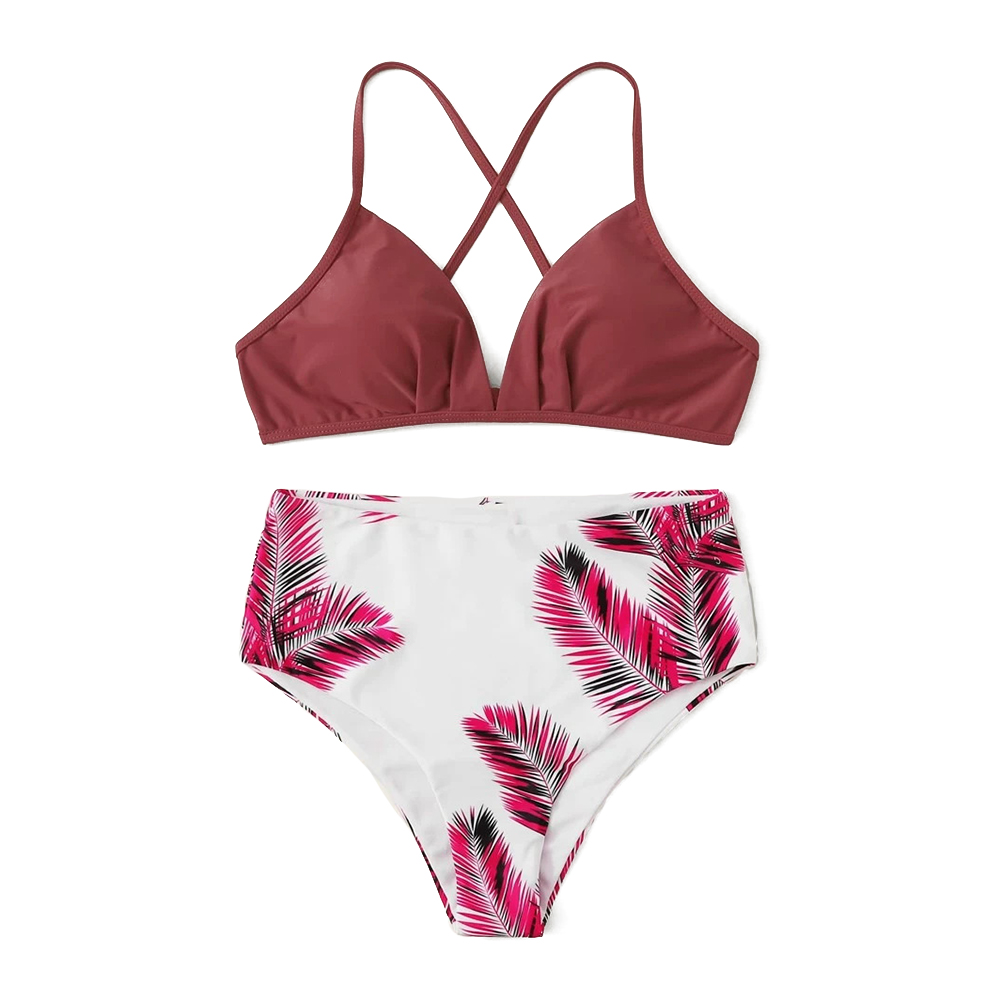 2 Pcs/set Women Swimming Suit Nylon Color Contrast Top+ High Waist Printing Shorts Photo Color_L