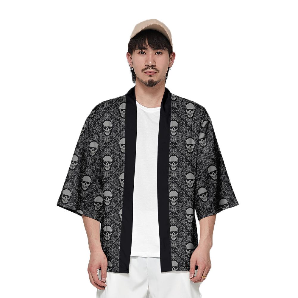 Unisex Fashion Thin Sunscreen Robe Summer Half Sleeve Loose Kimono Clothes V00022-3M25_L