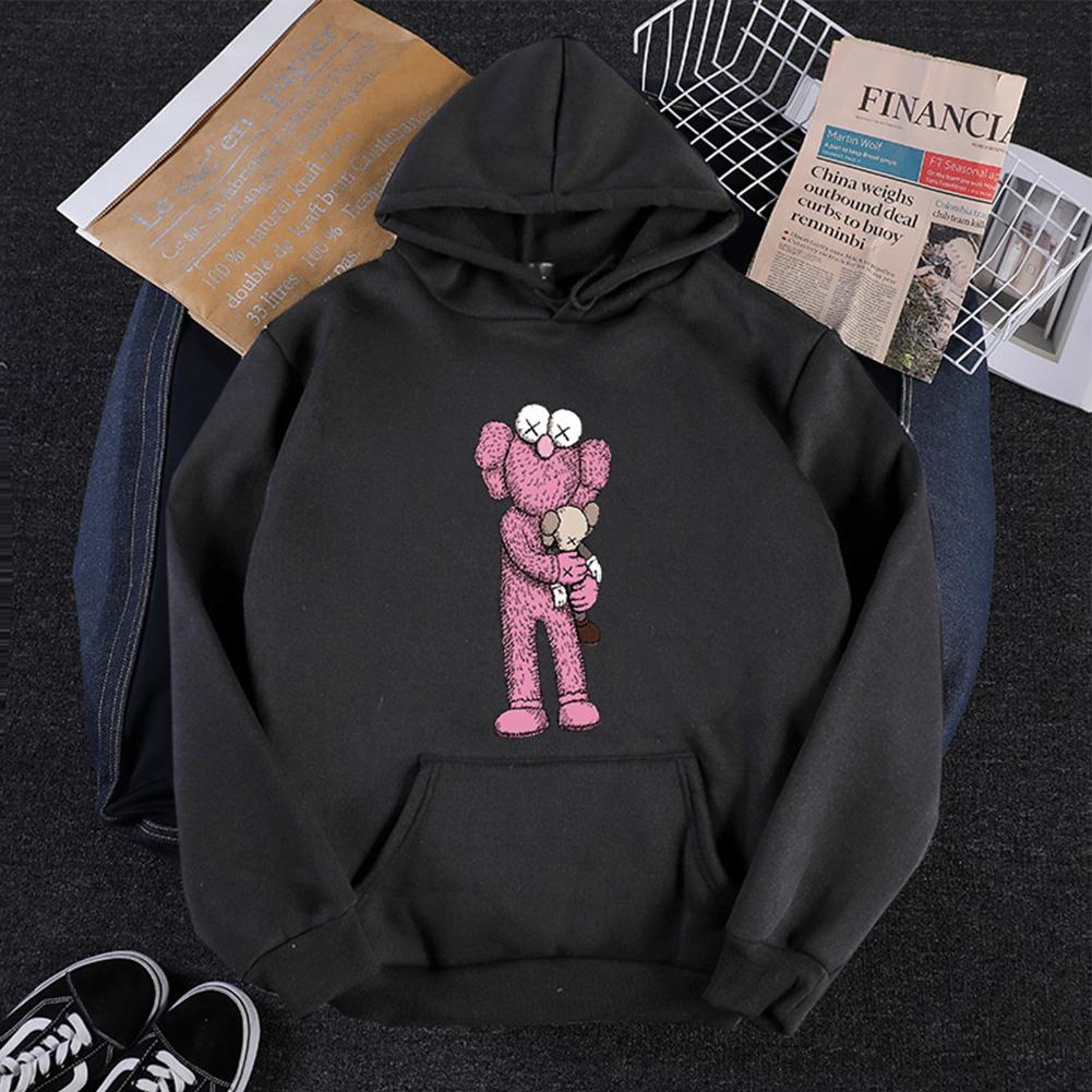 KAWS Men Women Hoodie Sweatshirt Cartoon Holding Doll Thicken Autumn Winter Loose Pullover Black_L