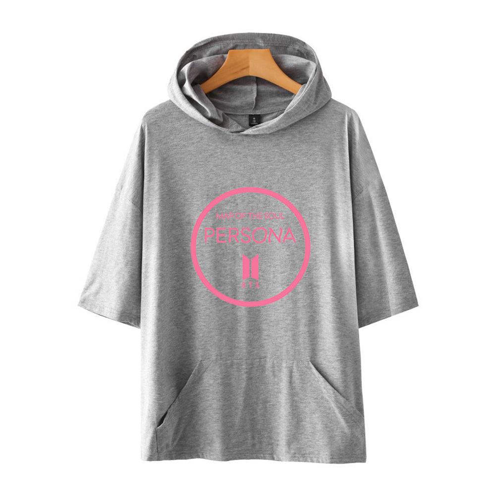 Men Fashion Hooded Shirts Short Sleeve Pattern Casual Tops Gray A_XXL