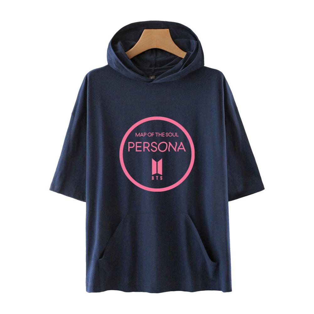 Men Fashion Hooded Shirts Short Sleeve Pattern Casual Tops Navy Blue A_XXL