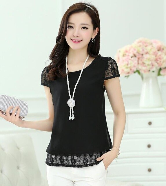 2018 Sexy Womens Tops White Tees Crochet Lace Floral Shoulder  Short Sleeve Loose Chiffon Blouses Female Shirts blusas Hot