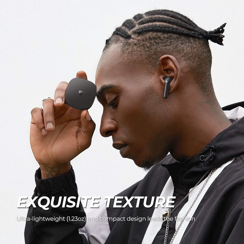 [US Direct] SoundPEATS Wireless Earbuds Bluetooth V5.2 Headphones with Qualcomm QCC3040 Wireless Earphones, TrueWireless Mirroring, 4-Mic Tech and cVc 8.0 Noise Cancellation, aptX Codec, Total 25 Hours - TrueAir2 10*9*4