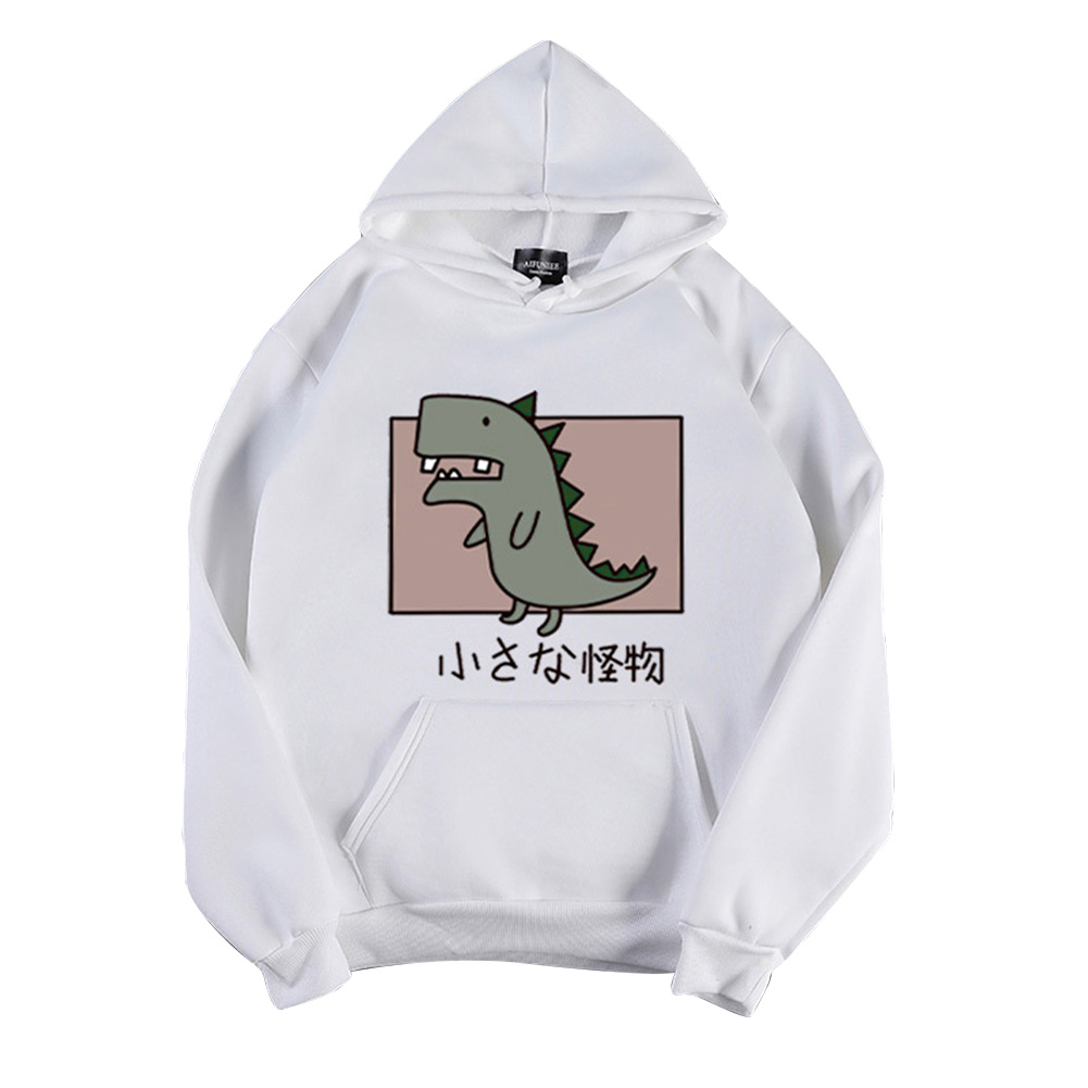 Boy Girl Hoodie Sweatshirt Cartoon Dinosaur Printing Spring Autumn Loose Student Pullover Tops White_XXXL