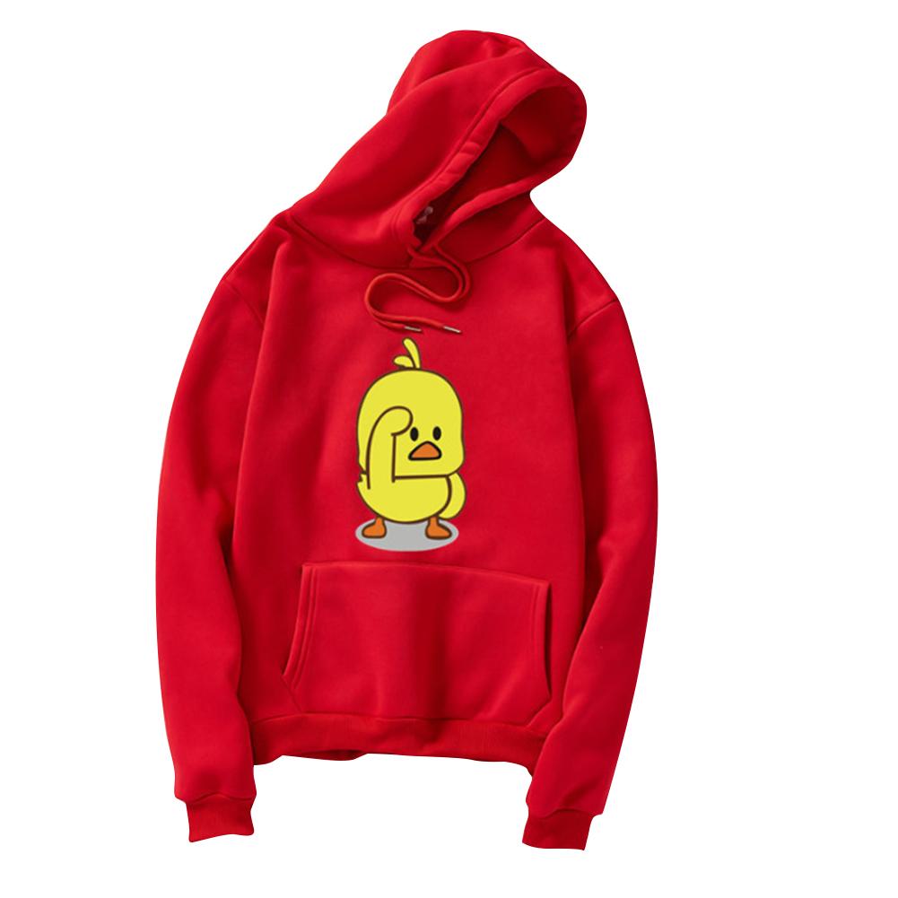 Men Women Cartoon Yellow Duck Pattern Fleece Hooded Sweatshirt red_2XL