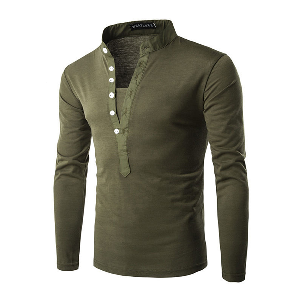 Men Fashion Shirt Slim Fit Casual Long Sleeve Pullover Tops green_L