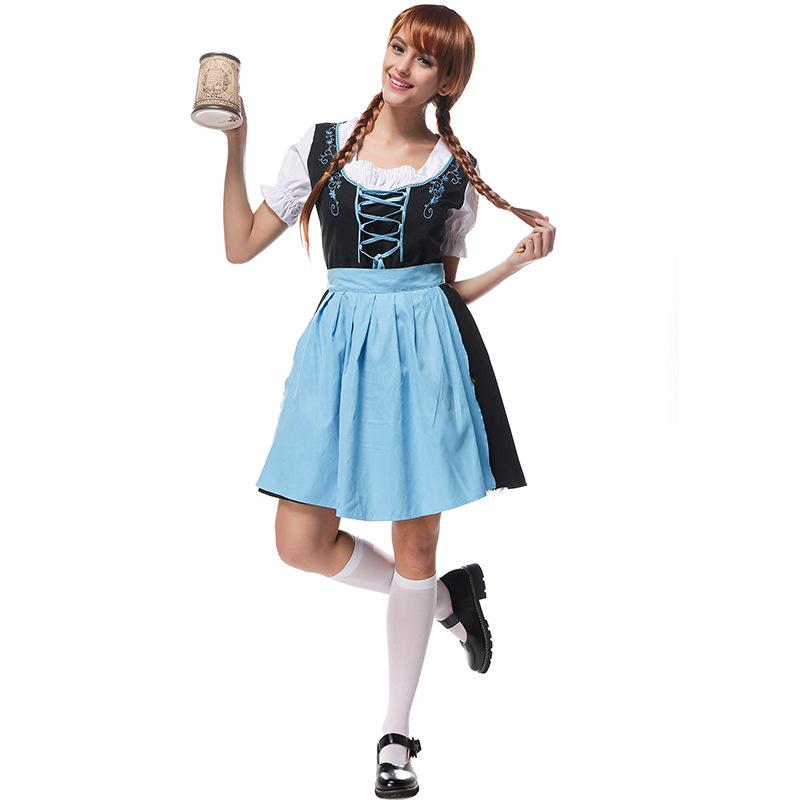 Women Oktoberfest Embroider Dirndl Dress Adult Retro Costume Dress for Hallowmas Blue black_M