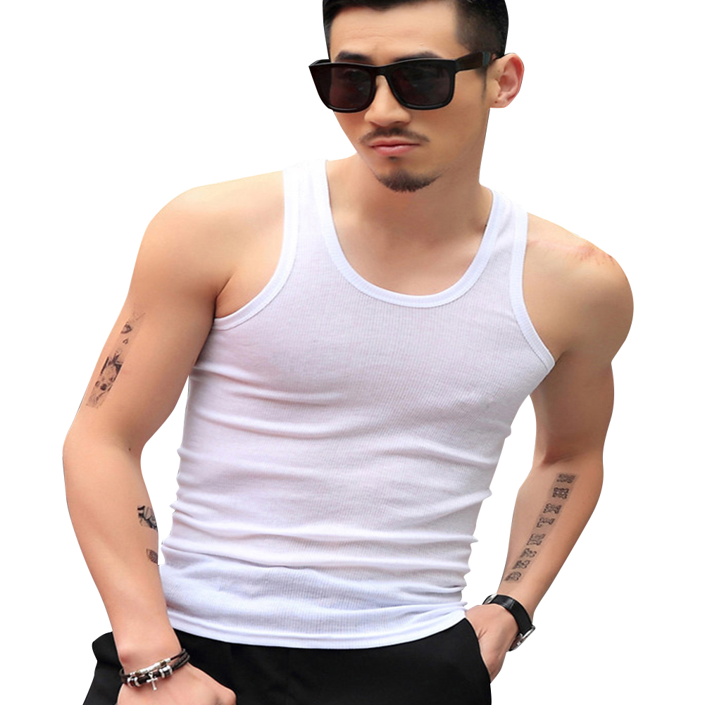 Men Fashion Summer Solid Color Sleeveless Vest Shirt for Gym Fitness Sports white_XXXL