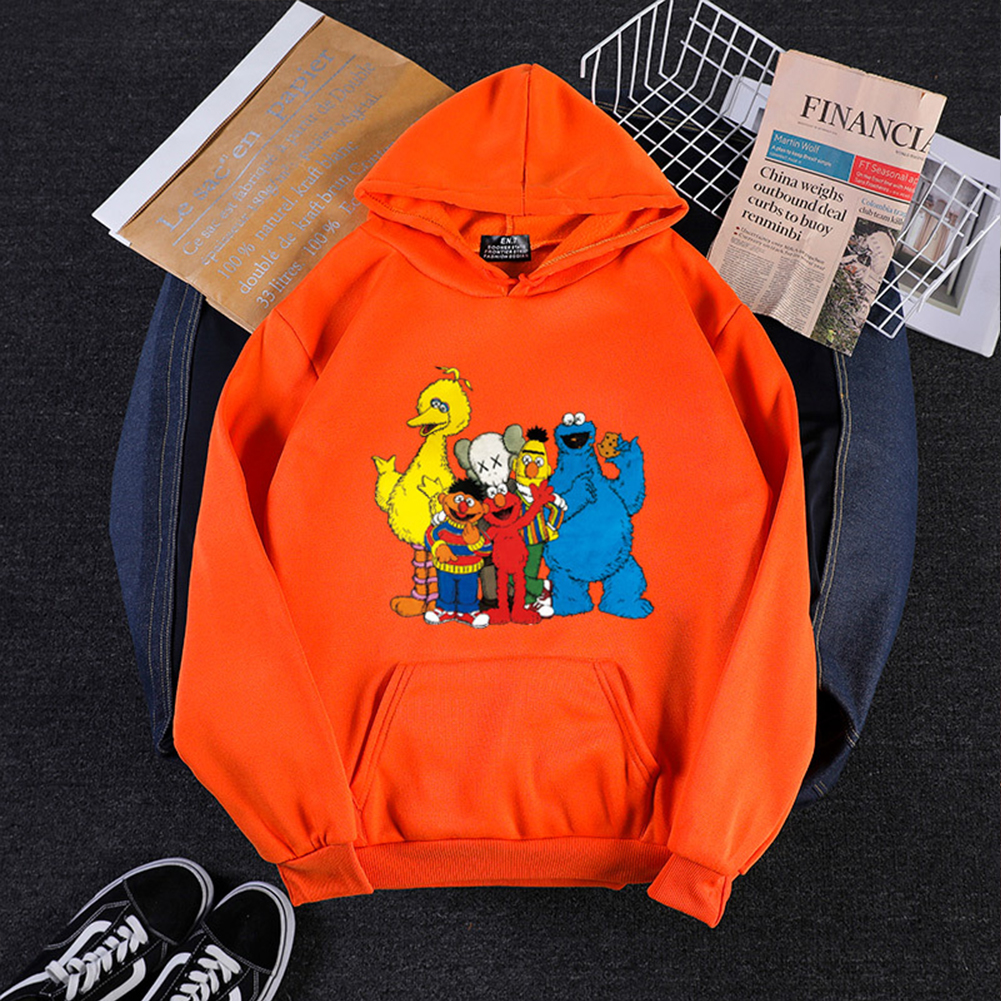 KAWS Men Women Hoodie Sweatshirt Cartoon Animals Thicken Autumn Winter Loose Pullover Orange_S