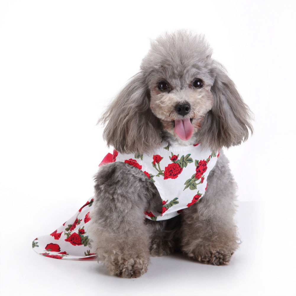 Polyester Pet  Clothes Summer Plaid    Skirt For Dog Pet Clothing Supplies white_L
